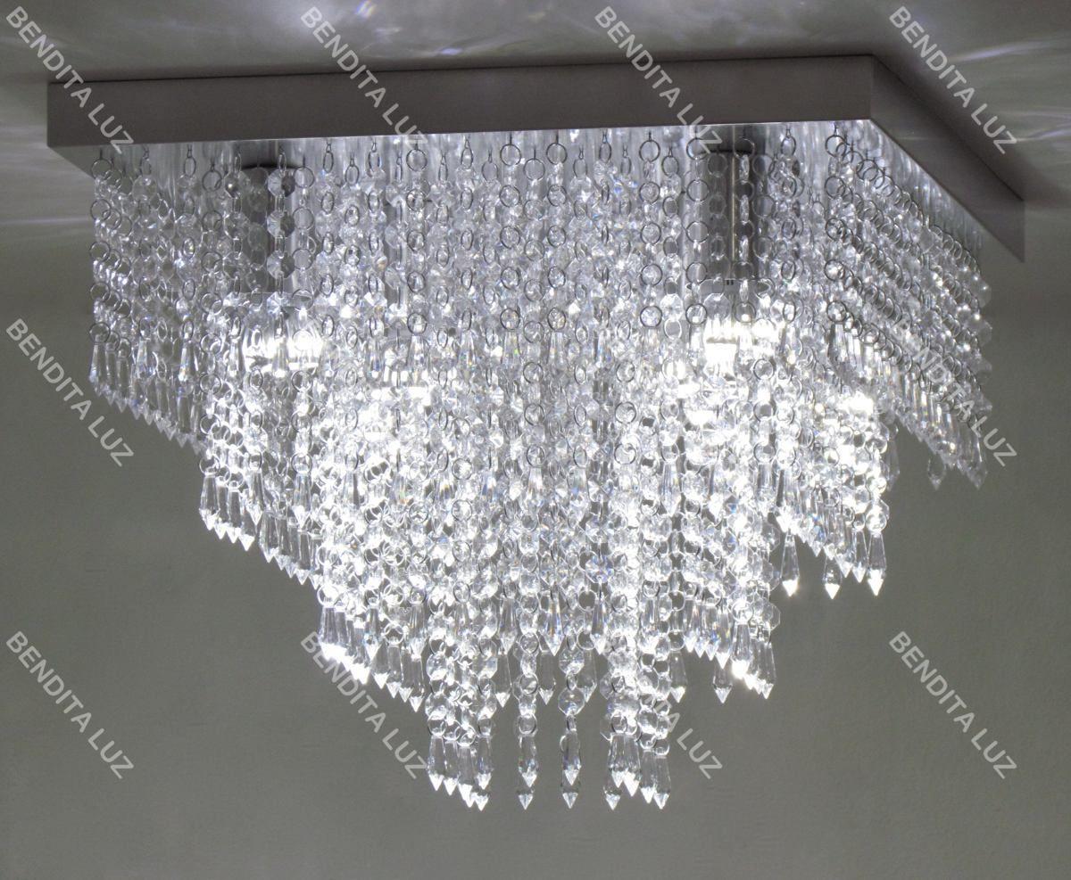 lustre plafon de cristal acrílico a42 - base inox 40x40cm ...