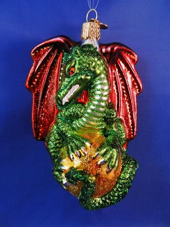 Medieval Dragon glass Christmas ornament - Medieval Dragon Glass Christmas Ornament Glass Christmas Ornaments