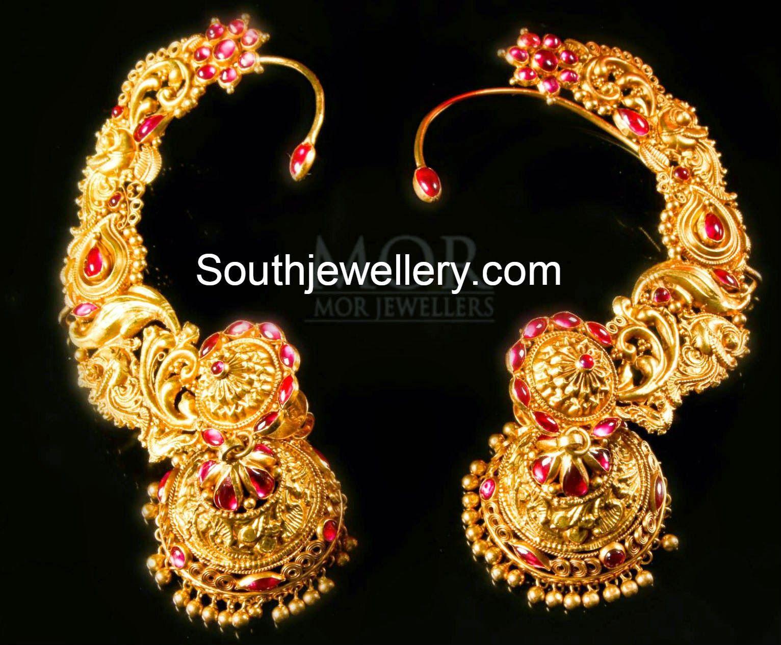 temple jhumkas full ear 1532—1266 gold