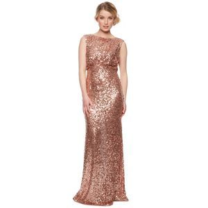 f60ce1088eadb No. 1 Jenny Packham rose gold natural sequin maxi bridesmaid dress ...