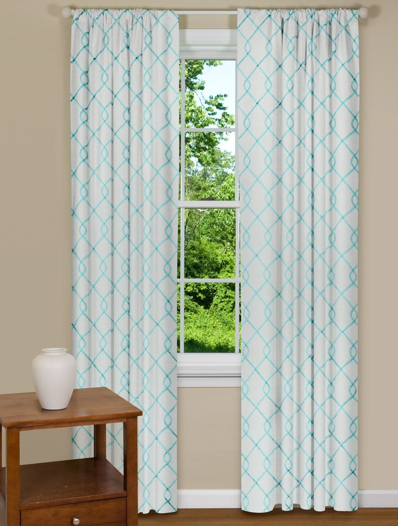 Modern Curtains Embroidered in Aqua Blue | Nursery Contemporary ...