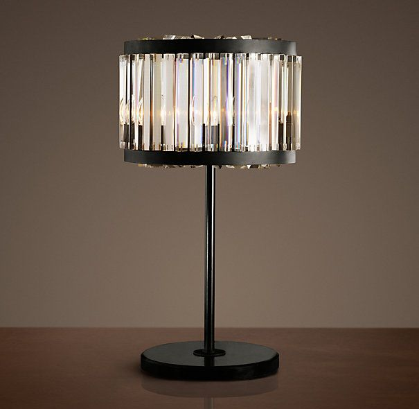 Restoration Hardware   Welles Crystal Table Lamp $1195 The Geometric Design  Of Our Lighting Collection Echoes