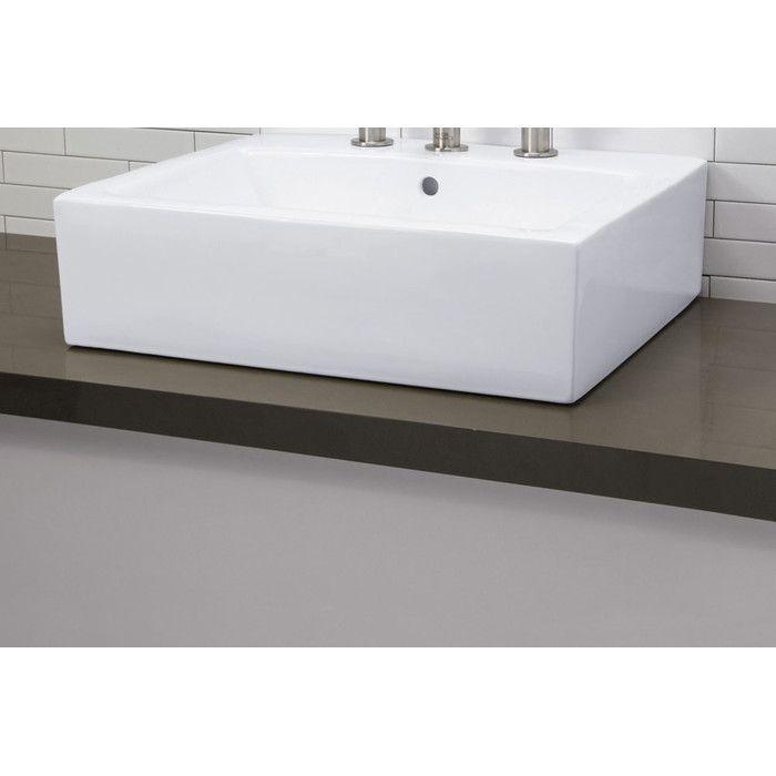 wayfair bathroom sinks. DECOLAV Classically Redefined Rectangular Ceramic Vessel Bathroom Sink with  Overflow You ll Love Wayfair