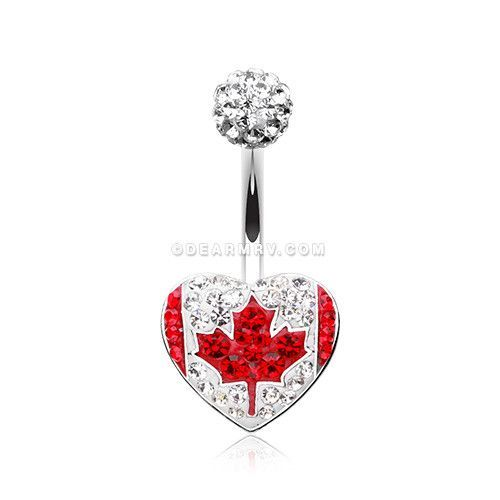 2019 best real quality large assortment Canada Flag Heart Multi-Gem Sparkle Belly Button Ring in ...
