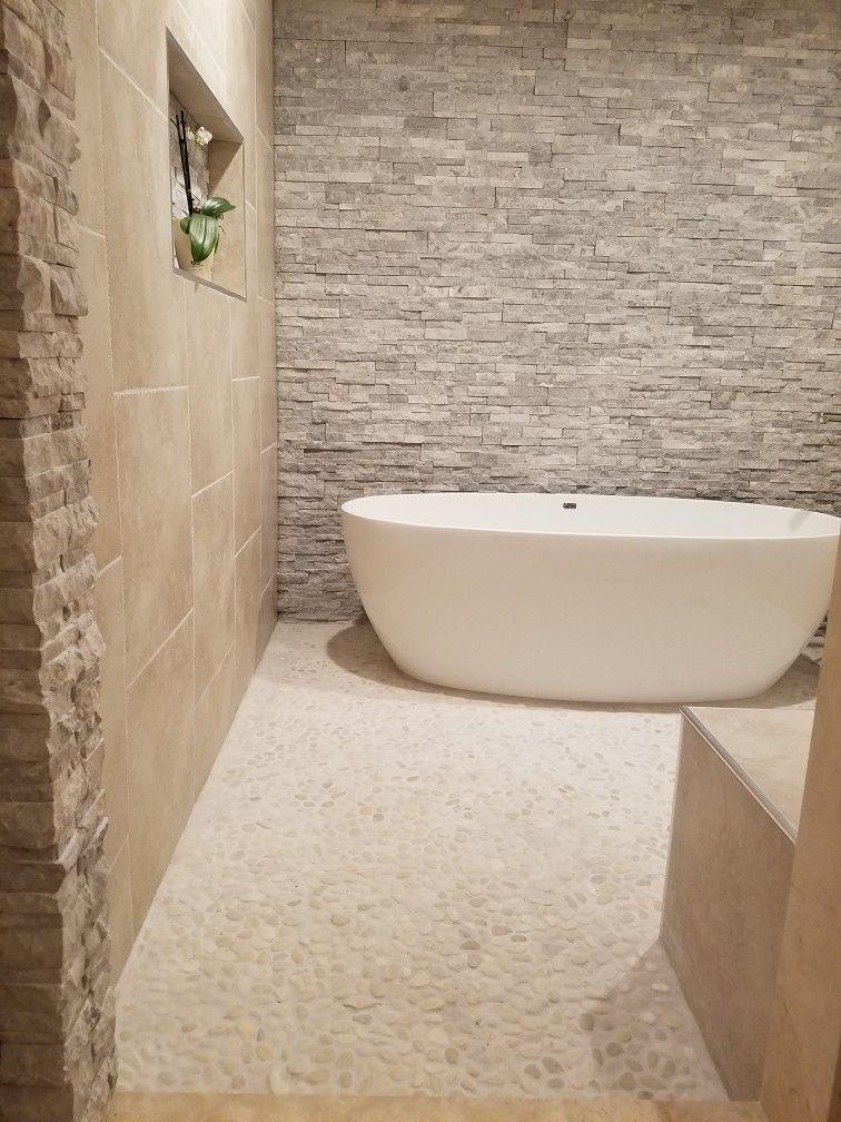 Master Bathroom Open Concept Pebble Floor Tile Built In Bench Adorable Bathroom Remodel Austin Concept