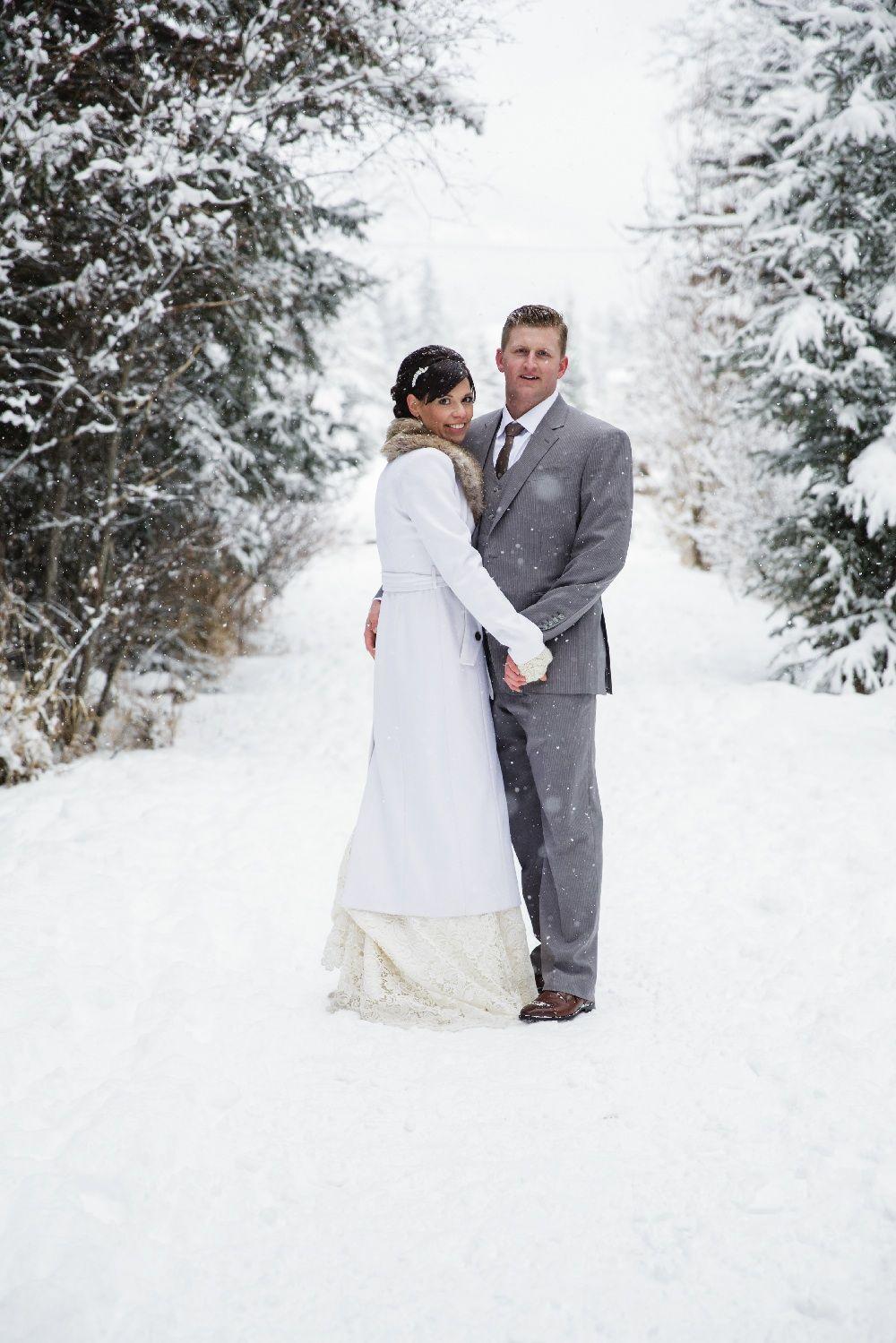 Winter wonderland wedding dress  A Rustic Winter Wedding in Canmore Alberta  Photos for wedding