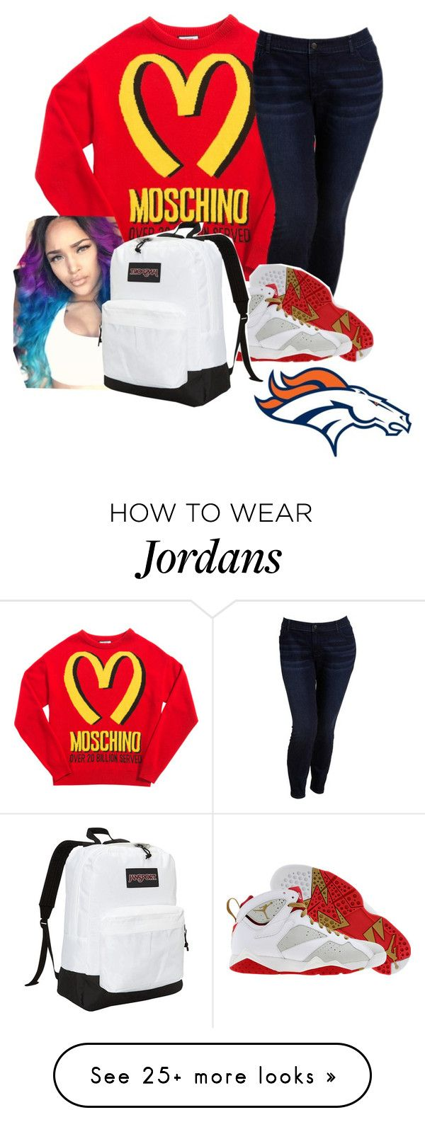 """BRONCOS"" by jtia on Polyvore featuring Moschino, Old Navy, Retrò, JanSport, women's clothing, women, female, woman, misses and juniors"
