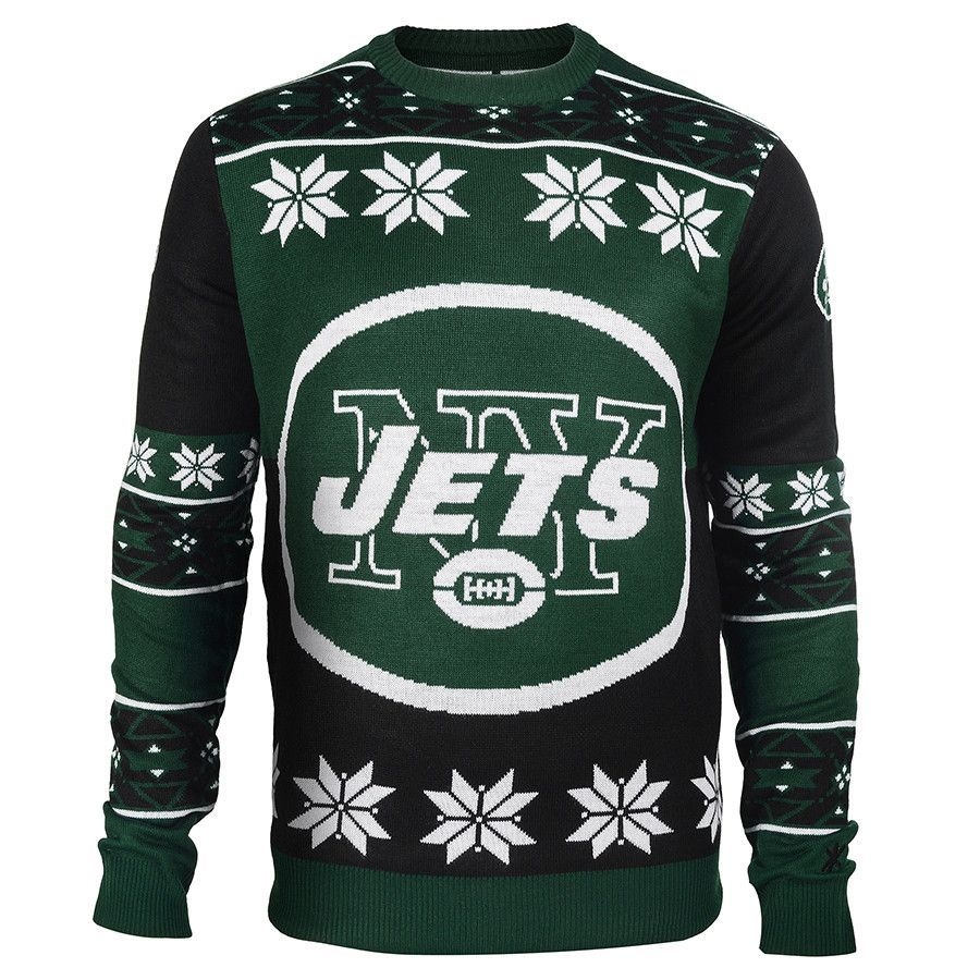 New York Jets Big Logo Ugly Crew Neck Sweater from UglyTeams | NY ...