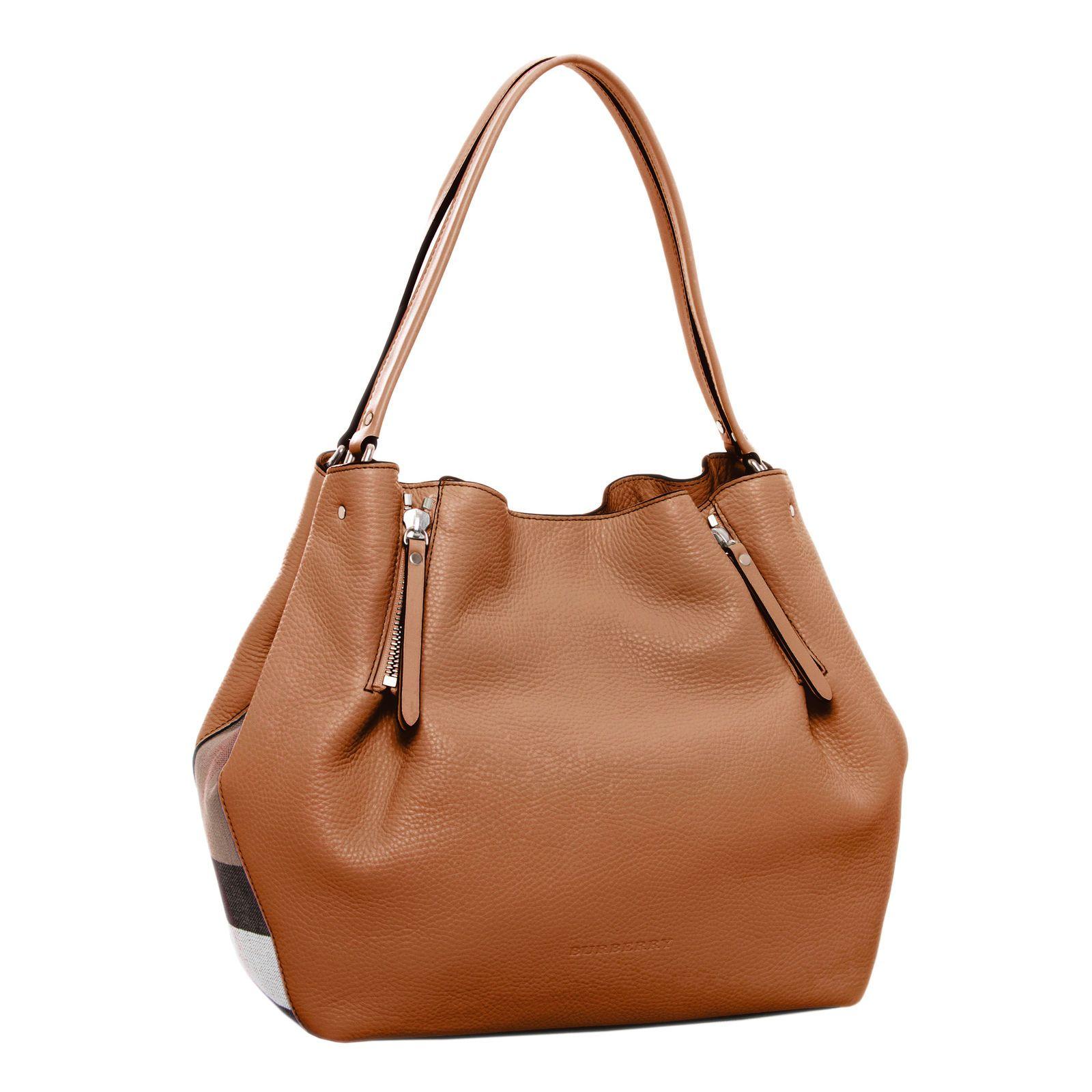 dab5ceb502a Burberry Women s Brit Medium Maidstone Leather and Canvas Handbag Brown
