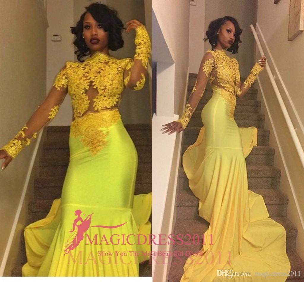 Black Girl Bright Yellow Lace Prom Evening Dresses Mermaid