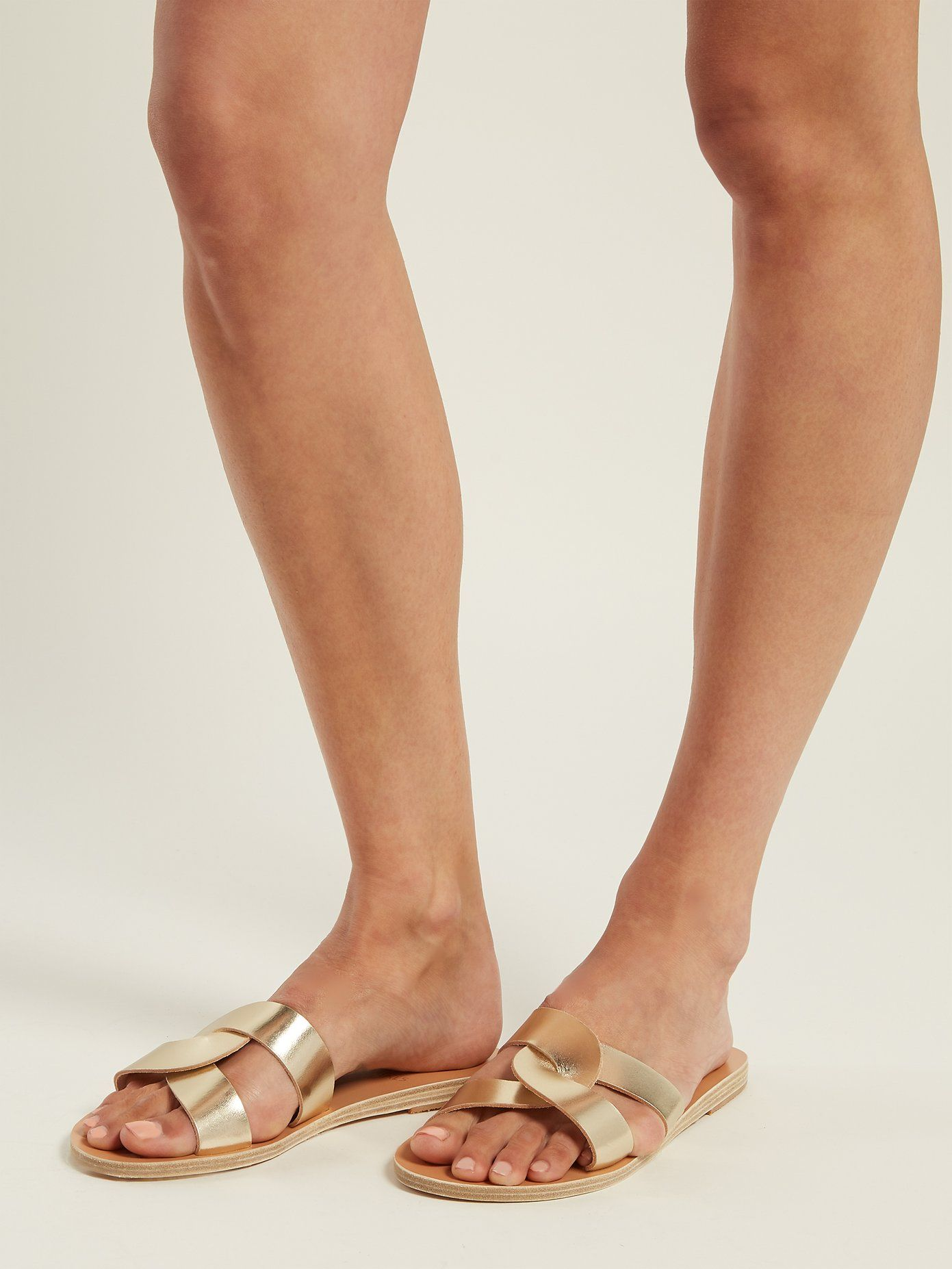 0cd641cc2a4 Desmos cut-out leather slides | Ancient Greek Sandals ...