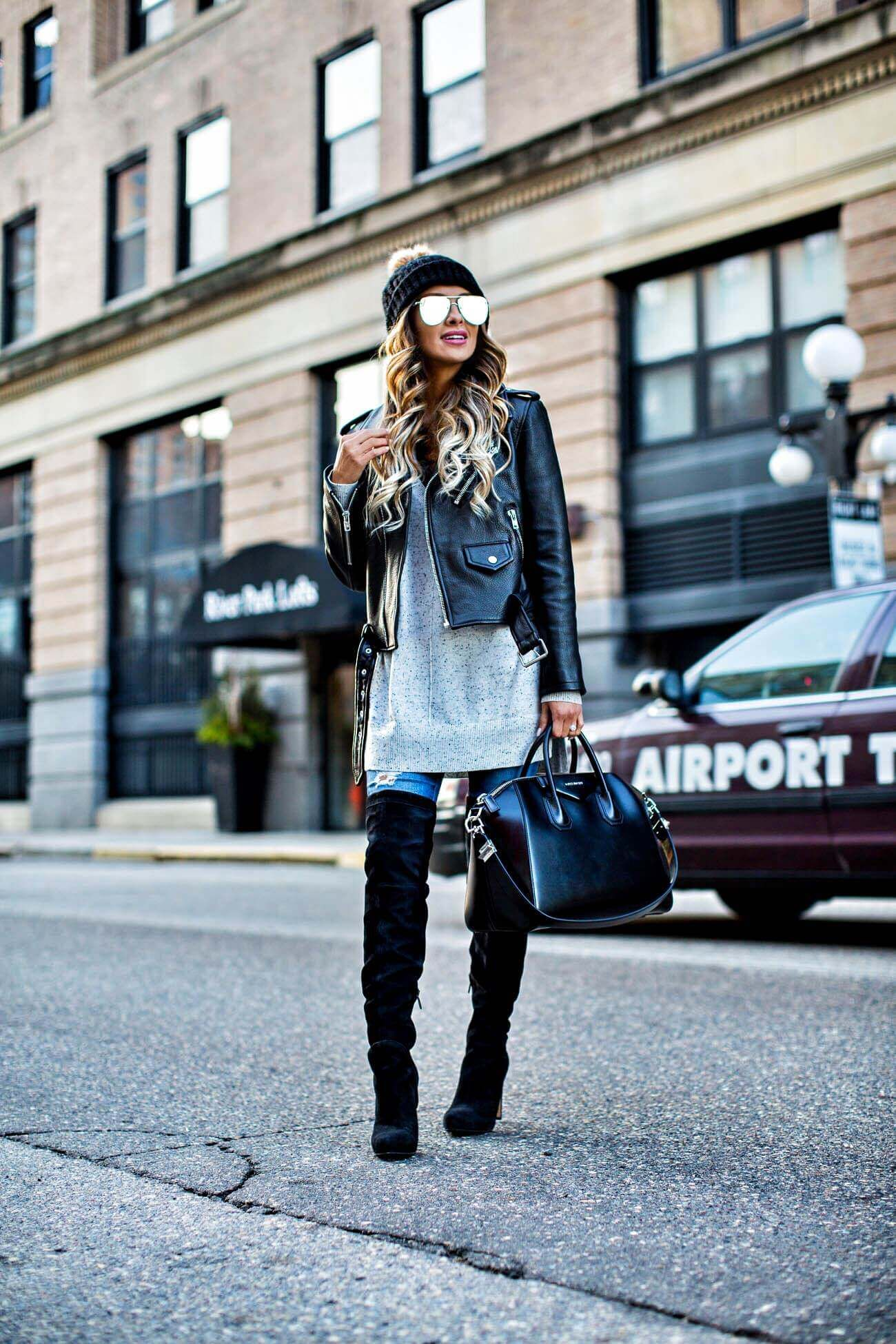 7350cfd23e7 mn fashion blogger mia mia mine wearing a leather jacket and a pompom beanie  from nordstrom