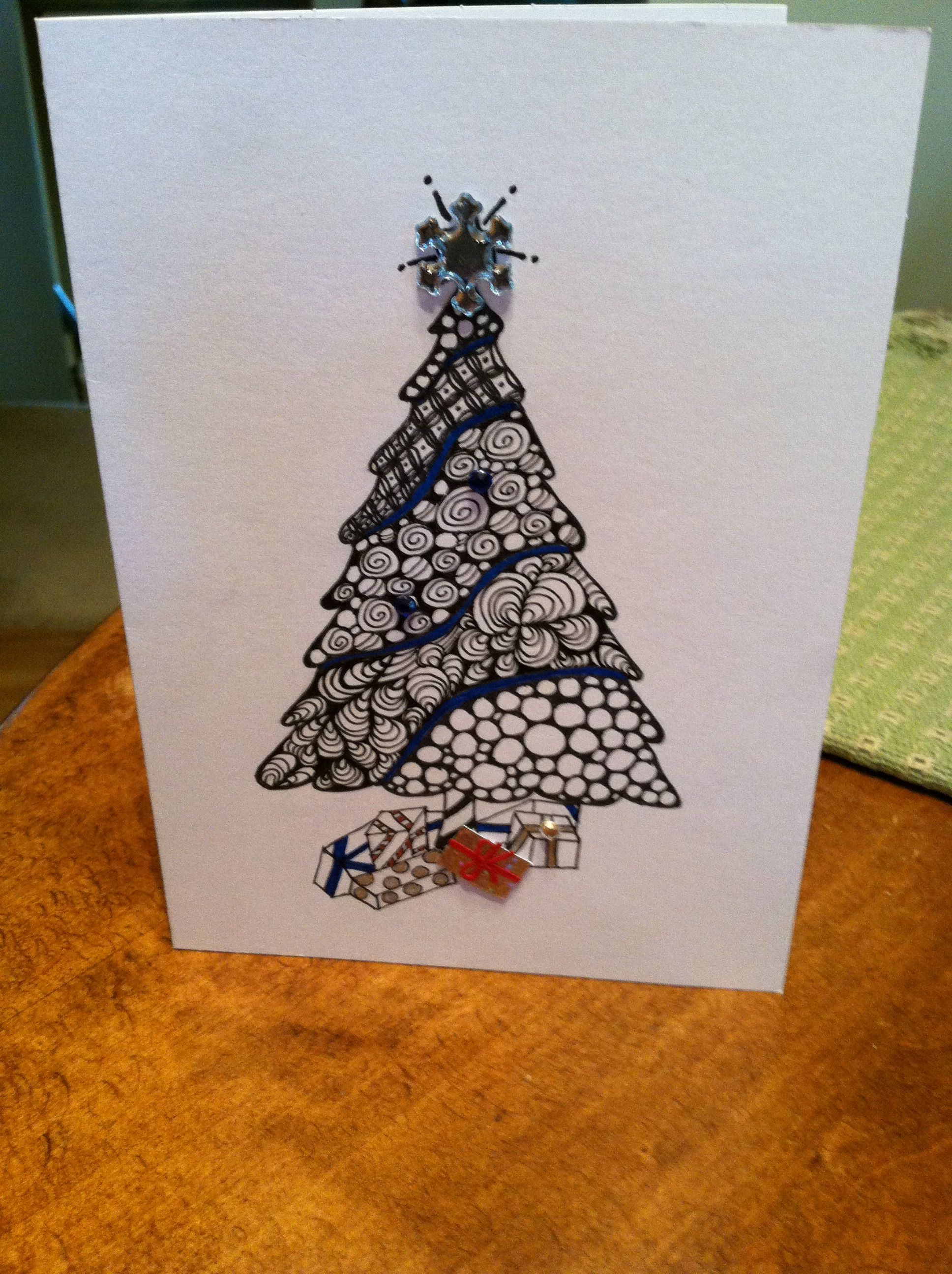 Christmas card 2013 Zentangle patterns, Christmas