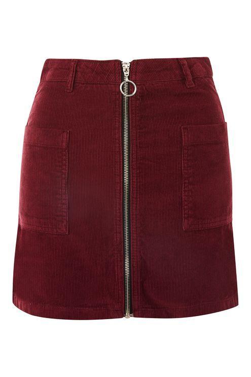 3ff8024627d2 Zip Through Corduroy Skirt | Clothes! | Corduroy skirt, Burgundy ...