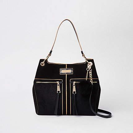 Black pocket front slouch bag - Shoulder Bags - Bags   Purses ... 242ca523fe998