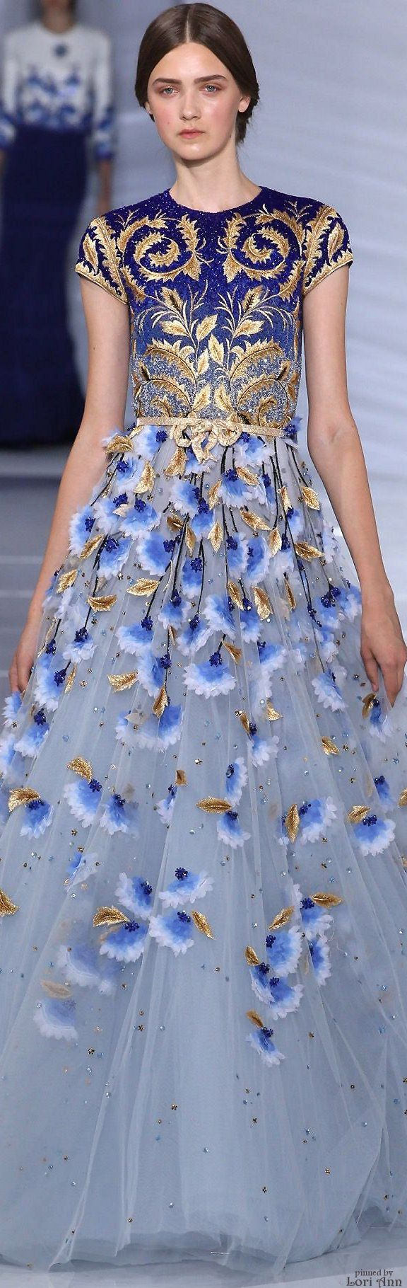 Georges Hobeika Couture Fall 2015 long dress in blue, gold, and white with flowers and leaves