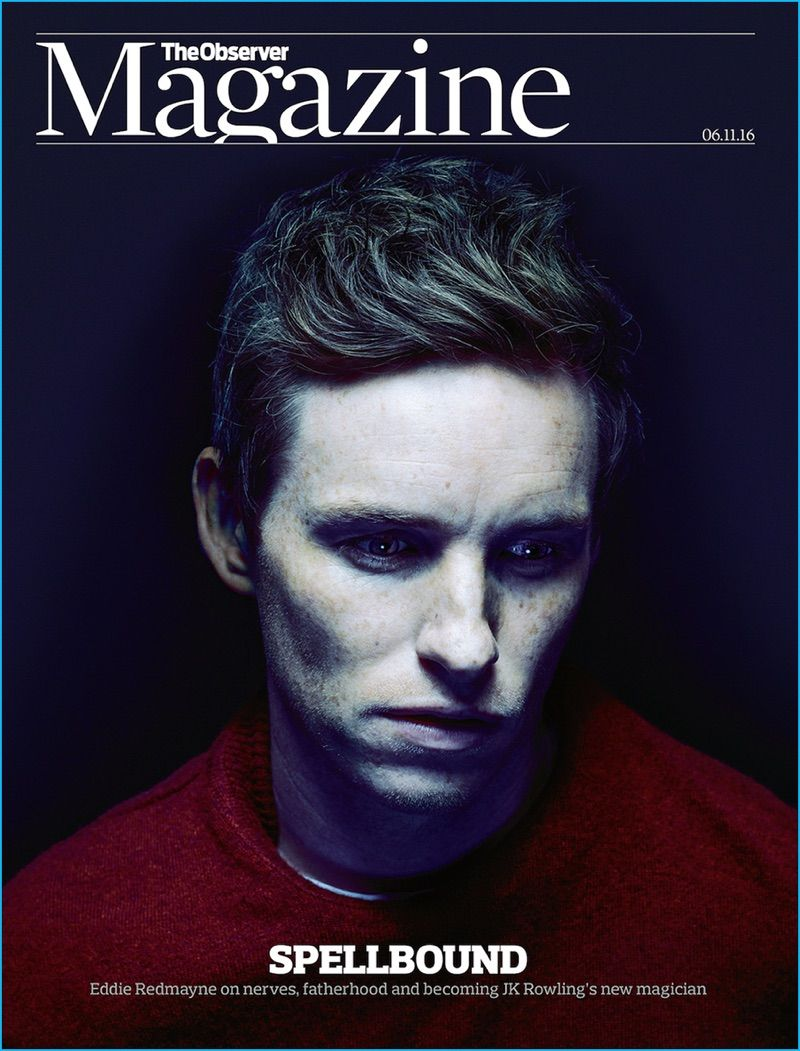 Eddie Redmayne covers The Observer in a Paul Smith cashmere sweater with a Sunspel t-shirt.