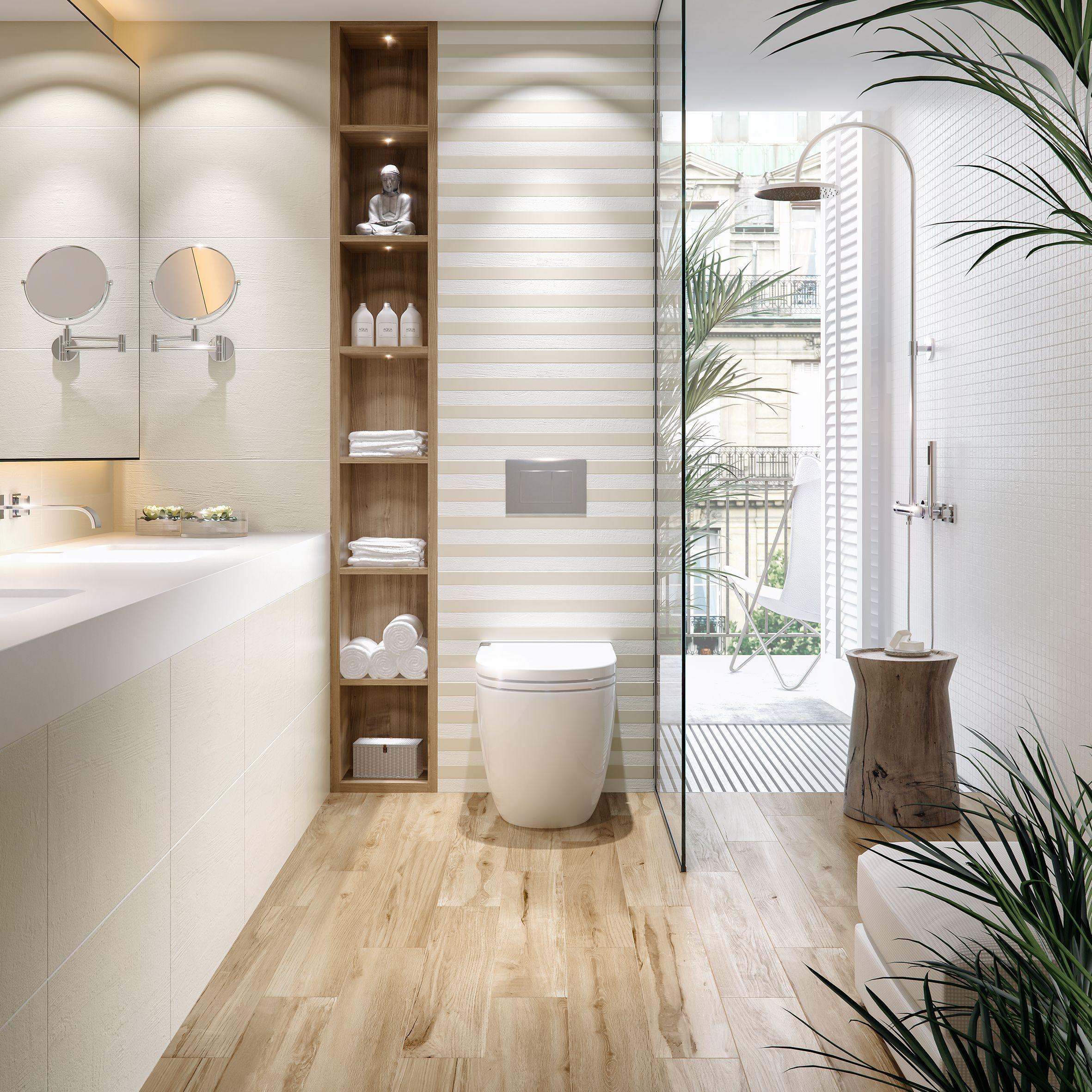 Schone Braune Holzoptikfliesen Kombiniert Mit Einem Schonen Beige Holzoptik Badezimmer Inspir In 2021 Bathroom Interior Design Modern Bathroom Design Modern Bathroom