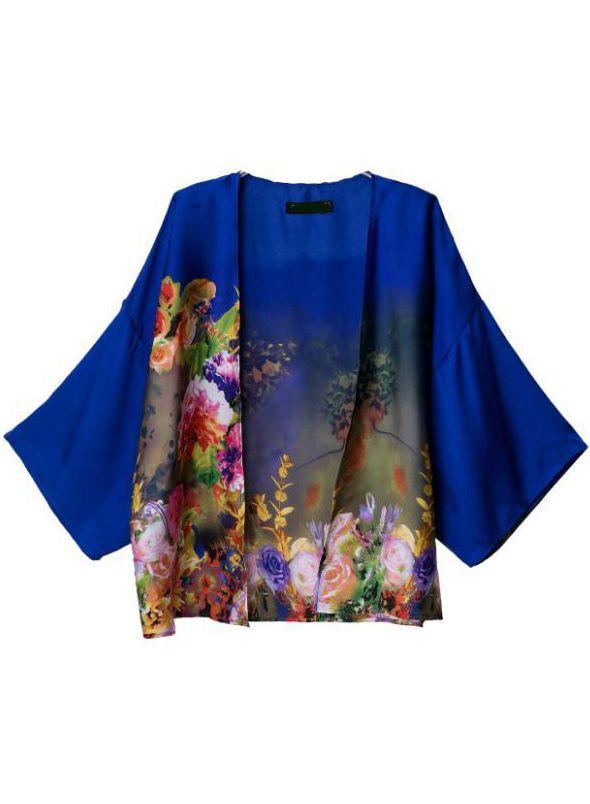 Blue Long Sleeve Floral Kimono