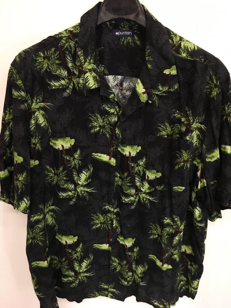 9a6476a0a MENS 3XL PURITAN HAWAIIAN SHIRT ALOHA FLORAL PALM BLACK BLUE RAYON #Puritan  #Hawaiian