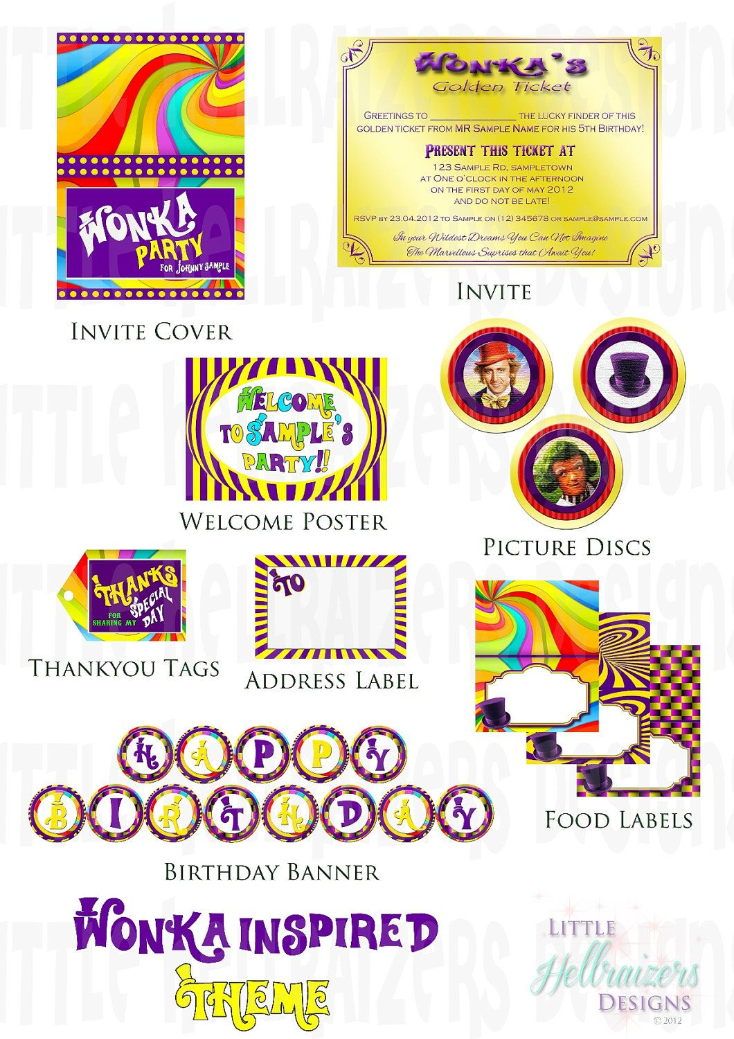 willy wonka printables | Willy Wonka Themed Party Printable Package ...