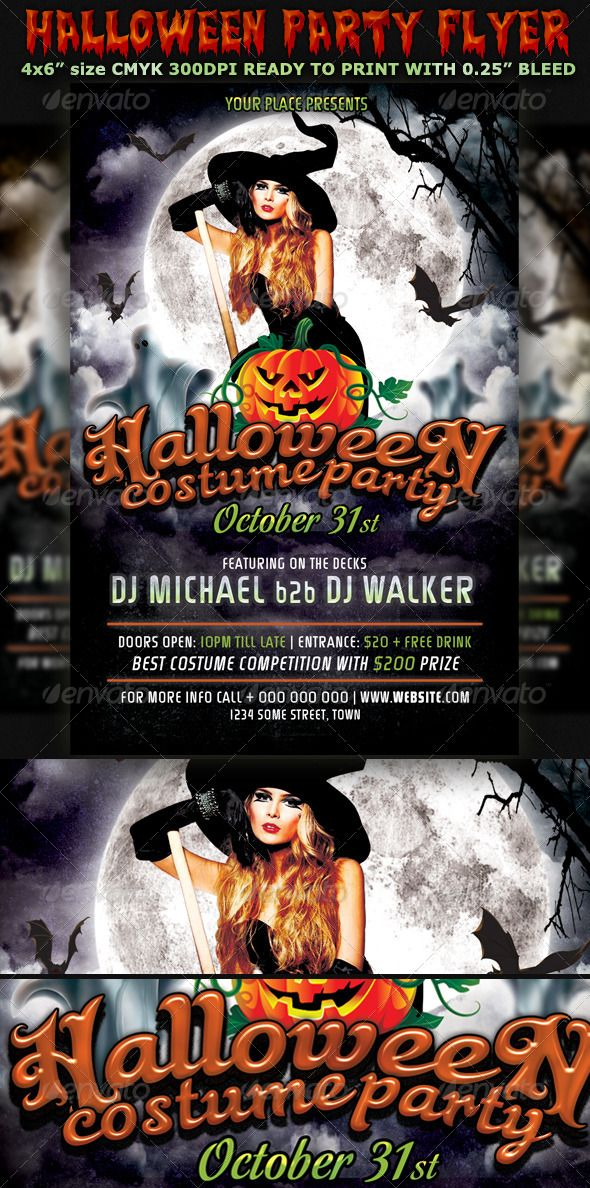 halloween party flyer template v3 halloween party flyer party flyer and flyer template. Black Bedroom Furniture Sets. Home Design Ideas