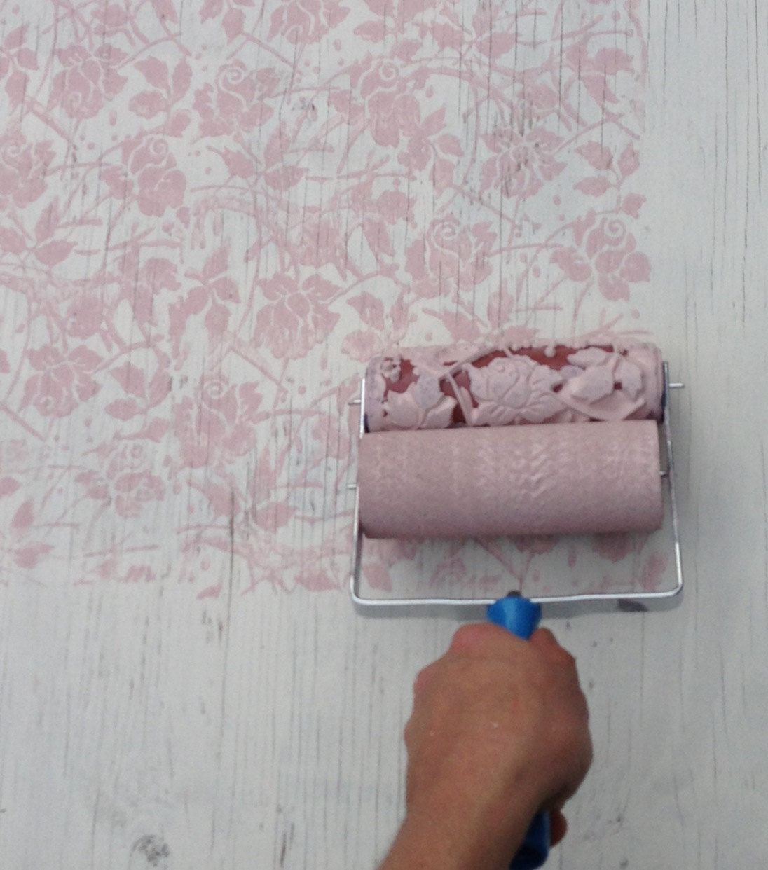 Patterned Paint Roller In Sweet Sea Roses Design Wall Stencil