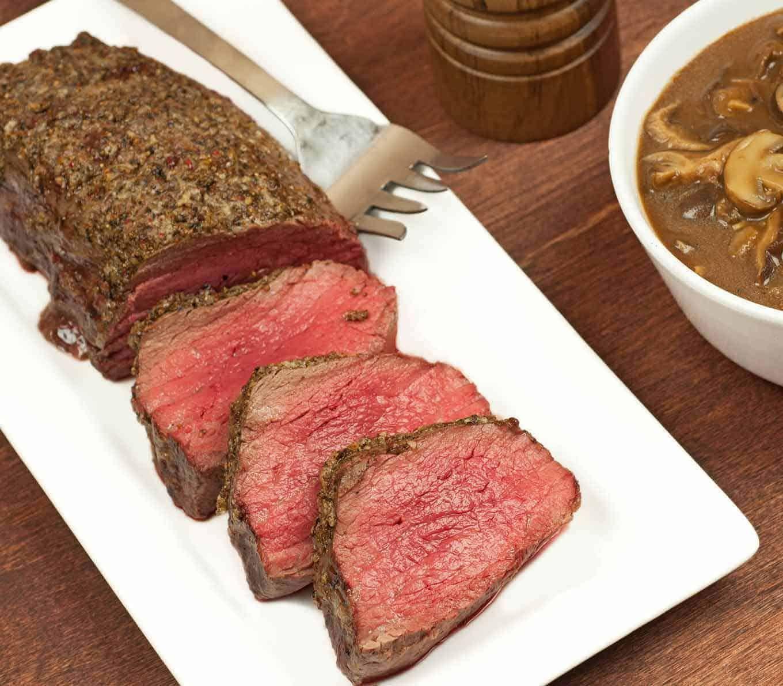 Roasted Beef Tenderloin with Mushroom-Port Sauce #beeftenderloin