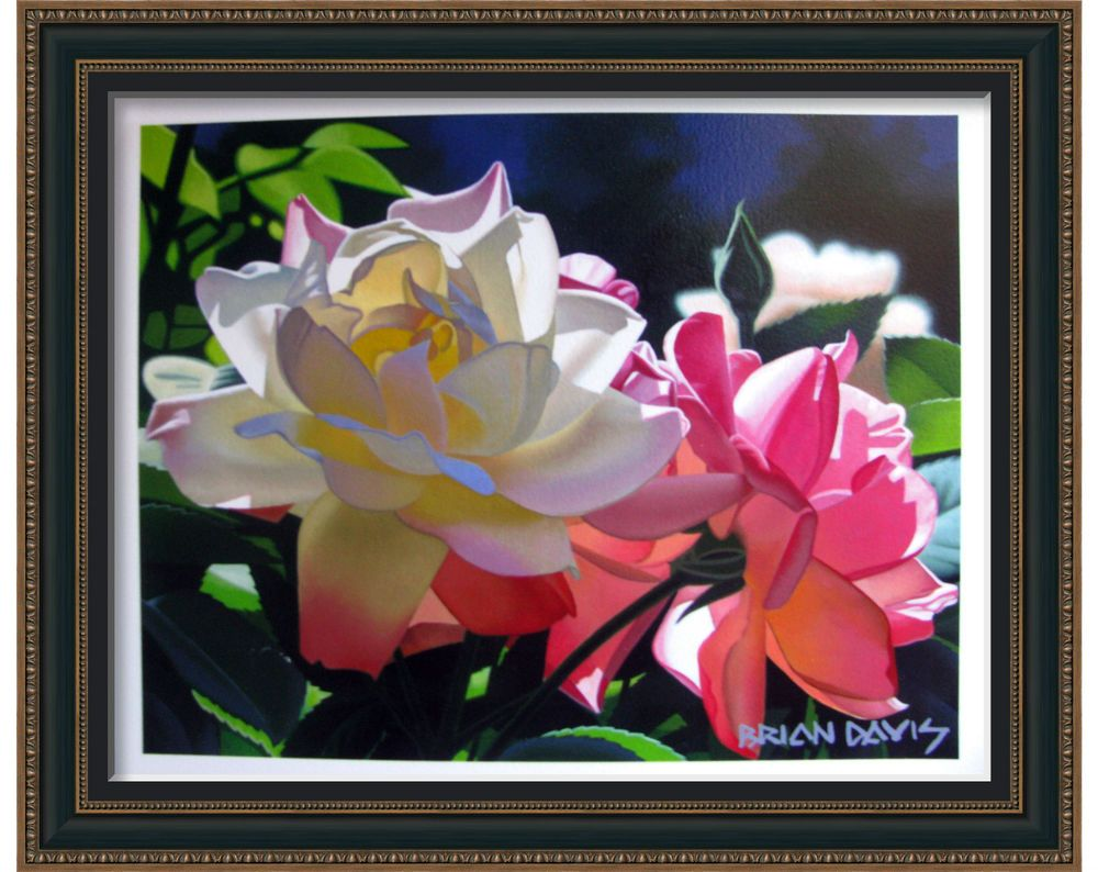 """BRIAN DAVIS RED ROSES open edition giclee on paper Image 9.5"""" x 12.5"""" unframed #Impressionism"""