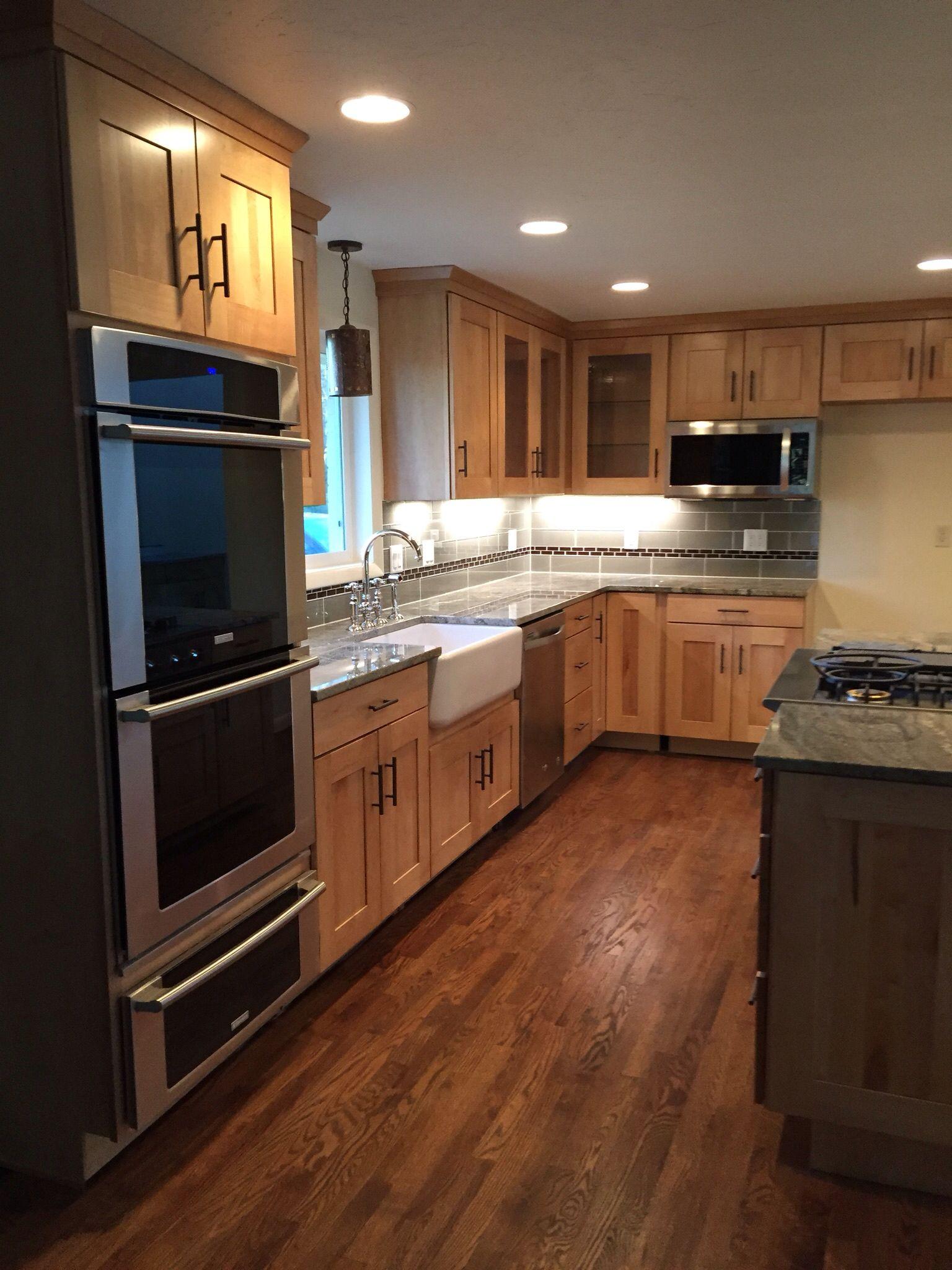 "Gray glass backsplash with ""chocolate"" boarder tiles ... on Modern Kitchen Backsplash With Maple Cabinets  id=16932"