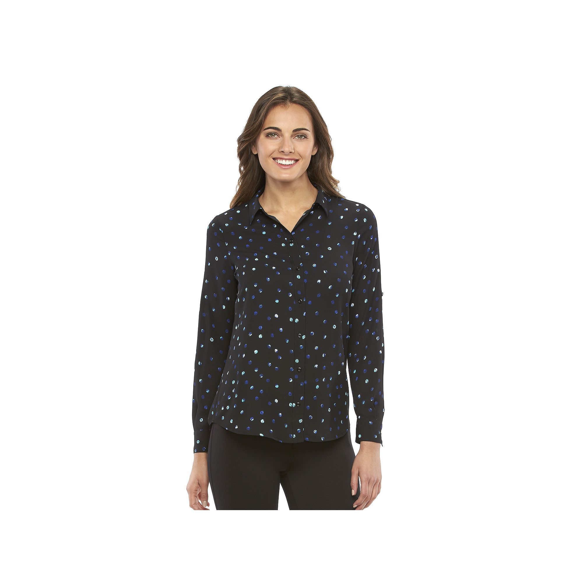 Women's Apt. 9® Dot Roll-Tab Blouse, Dark Blue