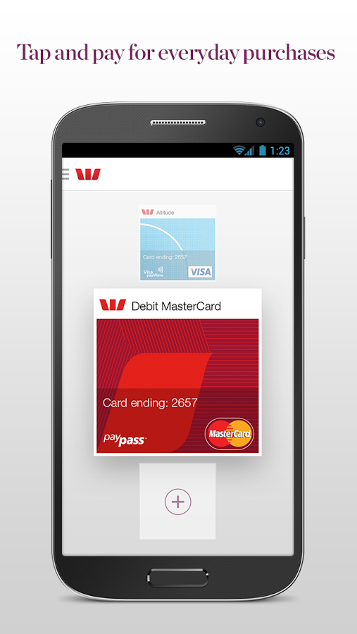 Westpac banking app - NFC card selection, vertical carousel | Mobile