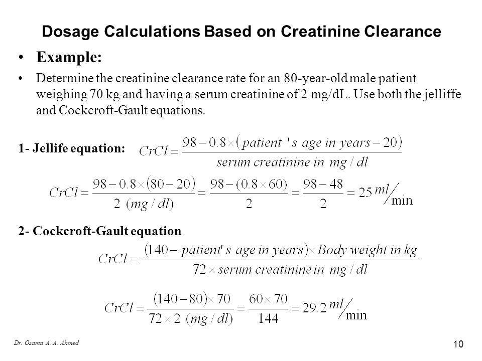 Image Result For Creatinine Clearance Calculation Example Creatinine Clearance Dosage Calculations Serum Creatinine