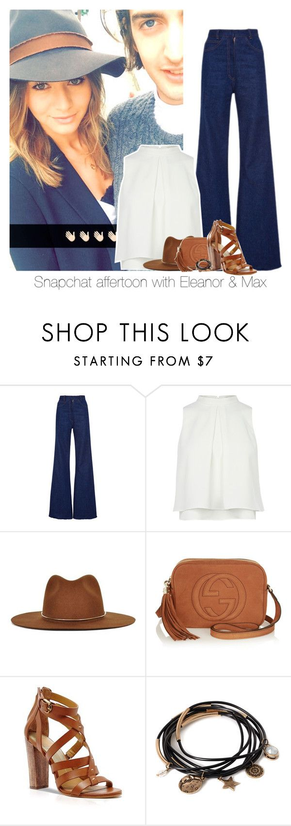 """""""Snapchat affertoon with Eleanor & Max"""" by reasongirl ❤ liked on Polyvore featuring Janessa Leone, Gucci, Dolce Vita and Forever 21"""