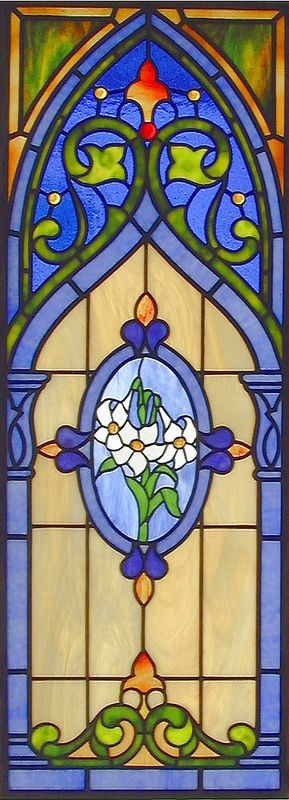 Lily Gothic Stained Glass Window Simple designs, Christmas
