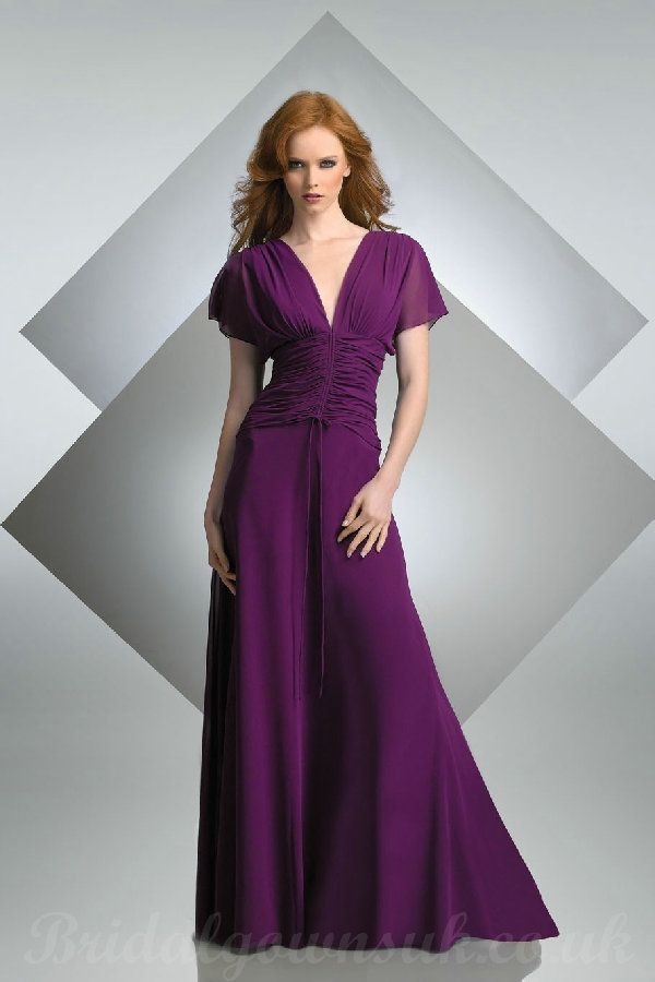long bridesmaid gowns | ... cheap V Neck Short Sleeves Grape Long ...