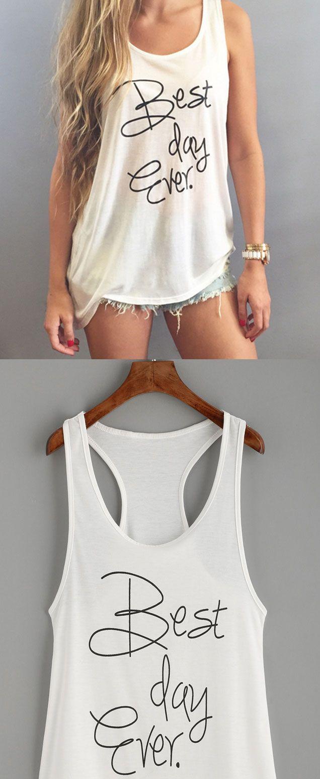 Print sleeveless tank top whitefashion teenagesummer fashion
