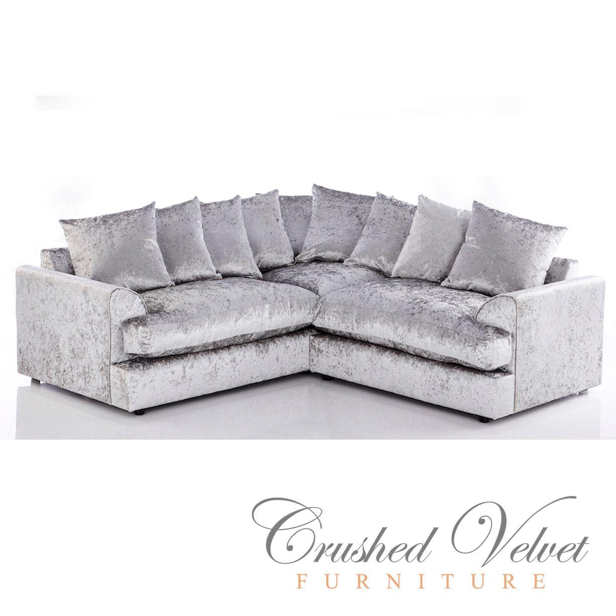 Jasper, Crushed Velvet, 5 Seater Sofa, Silver, Grey, Corner Sofa