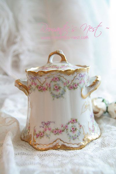 pretty china with pink roses