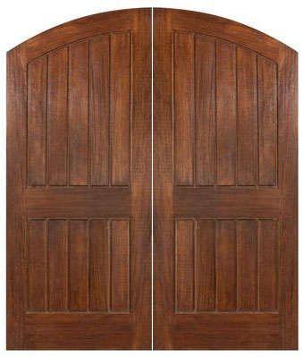 wooden double doors exterior   ... Arch Plank Double Doors Sardinia   Exterior Double Arch Mahogany Doors
