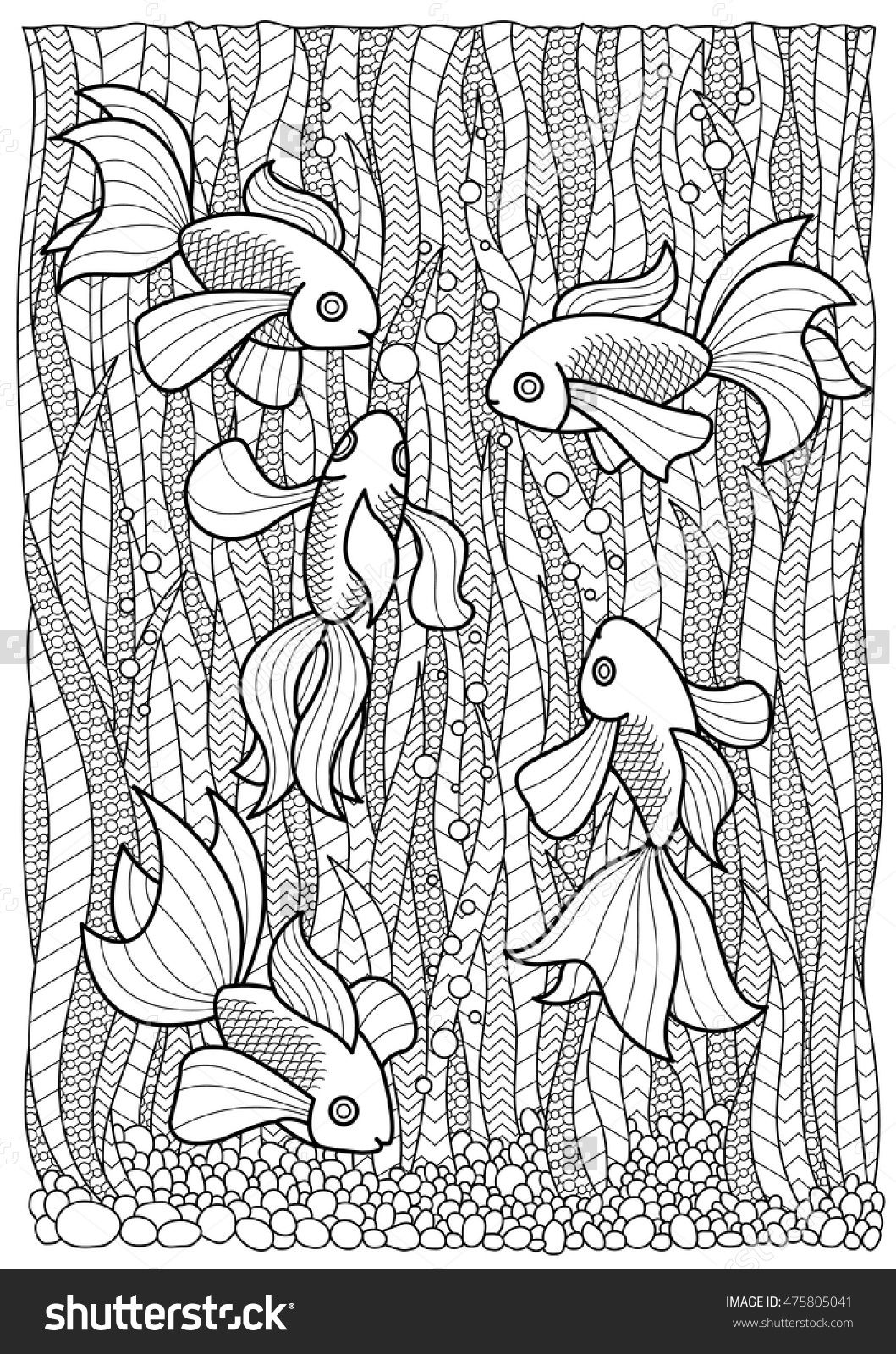 hand drawn marine coloring page fish swim in algae anti
