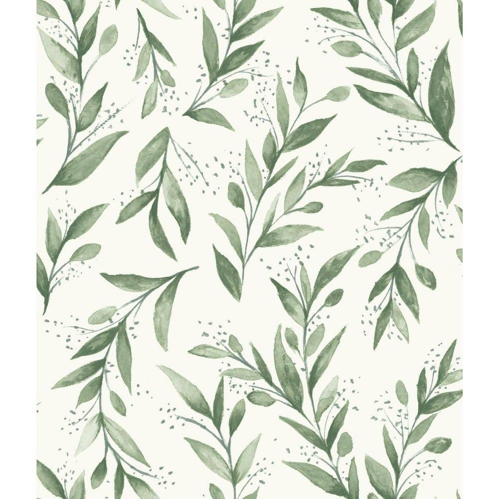 Roommates Olive Branch Magnolia Home Wallpaper Green In 2020 Stripped Wallpaper Green Wallpaper Olive Branch