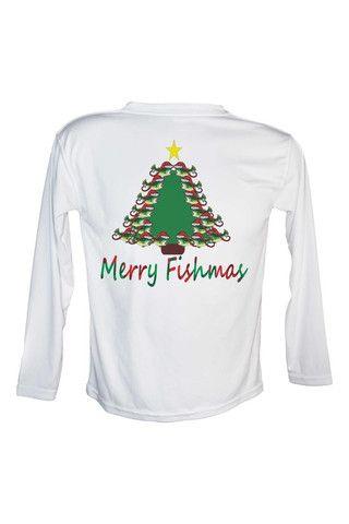 56f6c955 Youth Bass Merry Fishmas Tree UPF 50 Long Sleeve Performance fishing shirt.