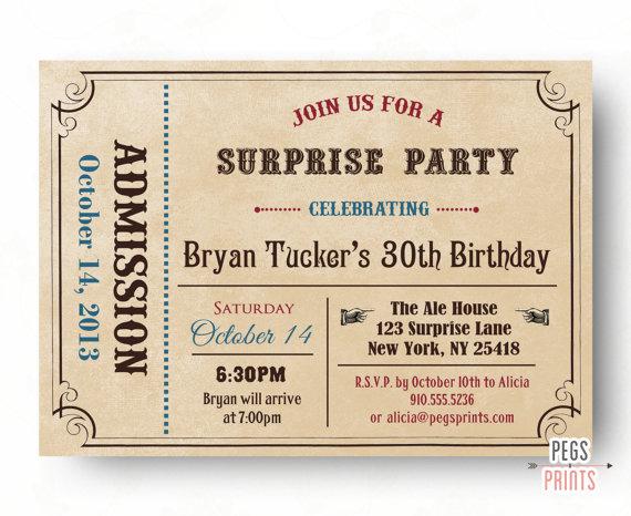 Bien connu Adult surprendre invitation anniversaire - admettre un billet  JK08