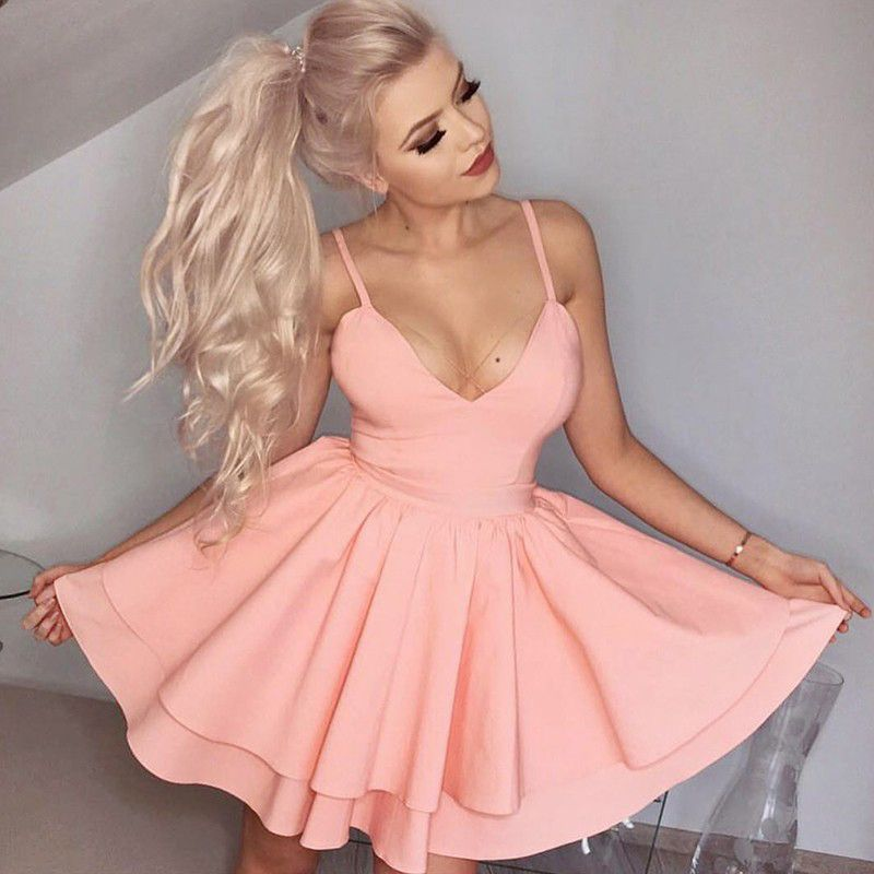 short homecoming dress,homecoming dresses,2017 homecoming dress,pink ...