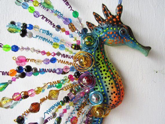 Seahorse wall sculpture-nautical home decor-whimsical by artistJP