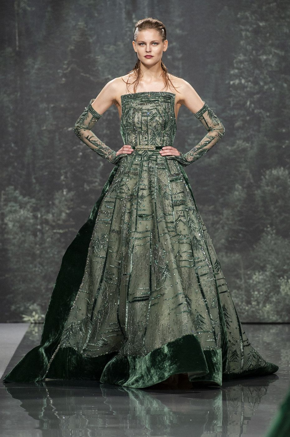 Ziad nakad at couture fall shades of green pinterest