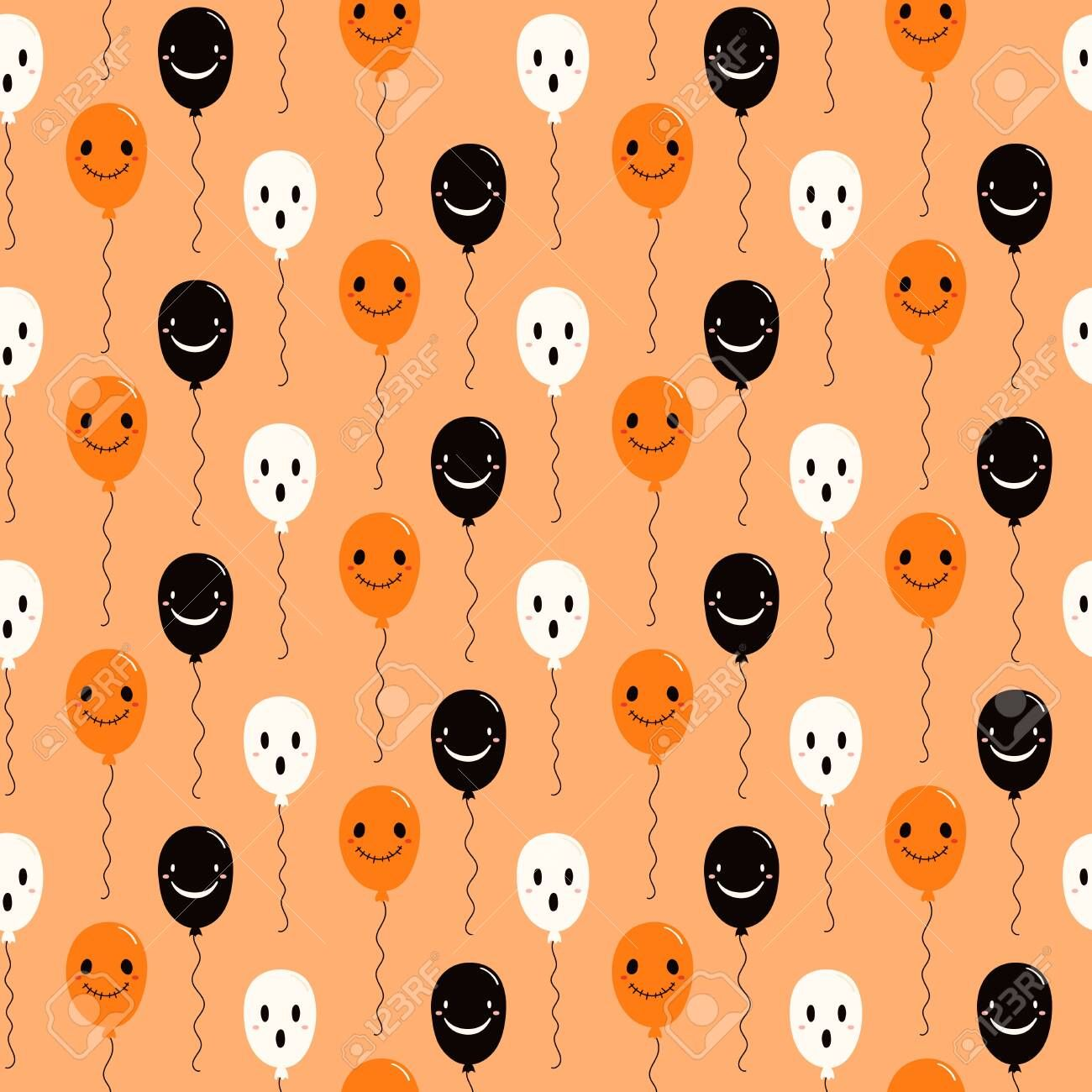 Hand drawn seamless vector pattern with cute flying balloons, on a light orange background. Kawaii