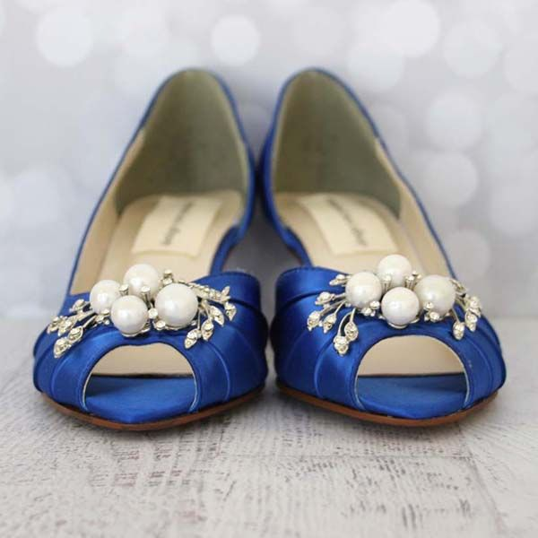 Custom Wedding Shoes DOrsay Kitten Heel Pearl And Rhinestone Adornment By Ellie Wren