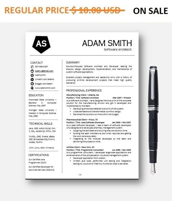Custom Resume Template Professional Resume Creative Resume